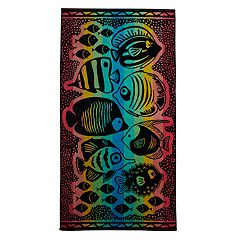 Celebrate Summer Together Rainbow Dot Fish Turkish Cotton Beach Towel