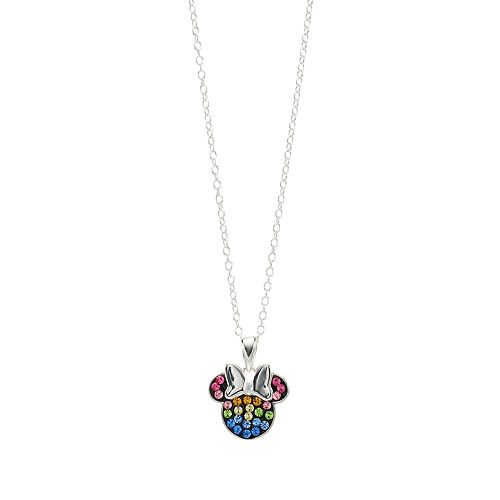Disney Minnie Mouse Sterling Silver Rainbow Crystal Necklace