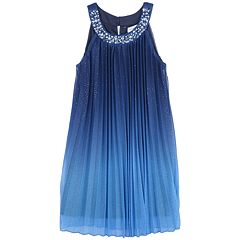 Girls 7-16 Speechless Jewel Detail Neck Ombre Pleated Shift Dress