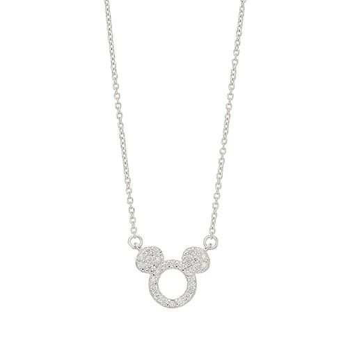 Disney Mickey Mouse Sterling Silver Cubic Zirconia Necklace
