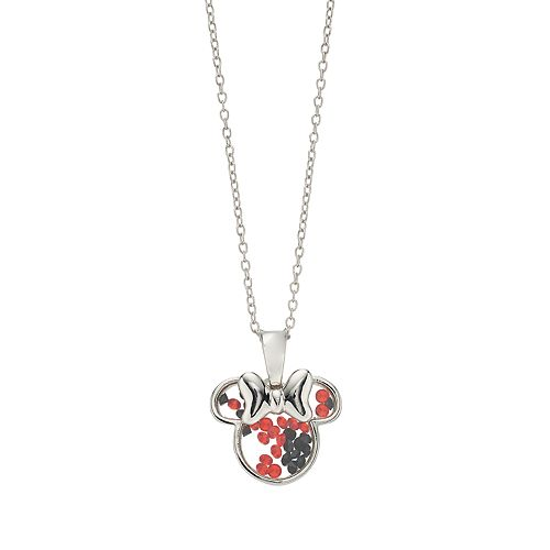 Disney Minnie Mouse Sterling Silver Crystal Necklace