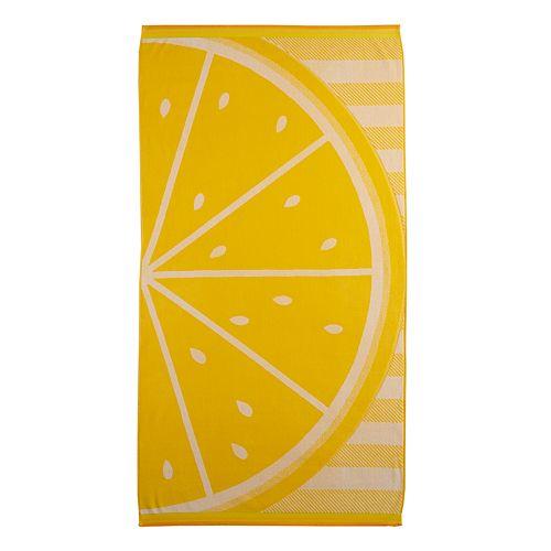Celebrate Summer Together Lemon Slice Turkish Cotton Beach Towel