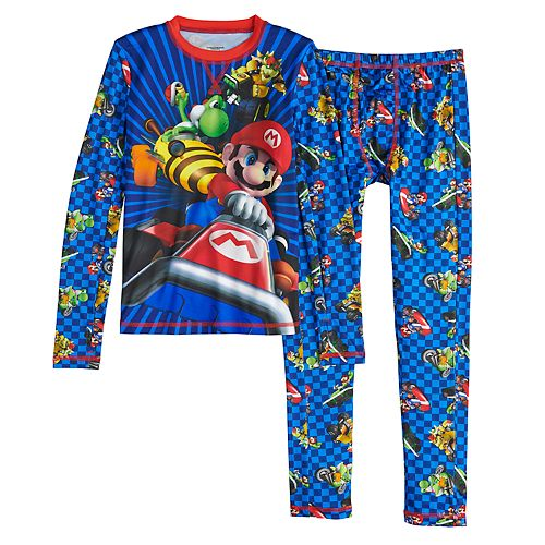 Boys 4-16 Cuddl Duds Super Mario Kart 2-Piece Baselayer Set