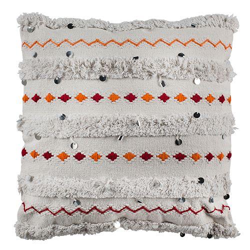 Safavieh Beckett Geometric Embroidered Throw Pillow
