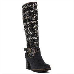L'Artiste by Spring Step Tweed Women's Knee High Boots