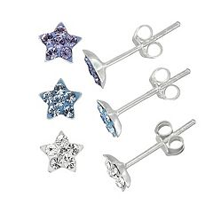 Charming Girl Kids' Sterling Silver Crystal Star Stud Earring Set - 3 Pair
