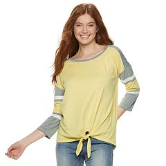 Juniors' SO® Striped-Sleeve Knot Front Top