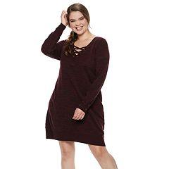 Juniors' Plus Size IZ Byer Lace-Up Sweaterdress