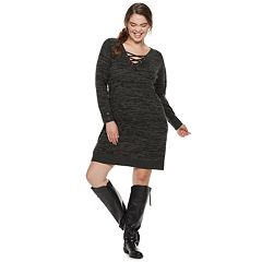 Juniors' Plus Size IZ Byer Lace-Up Sweaterdress