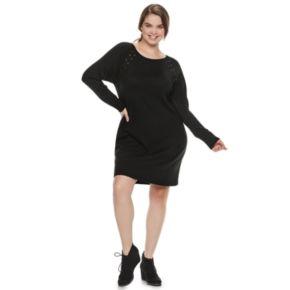 Juniors' Plus Size IZ Byer Lace-Up Shoulder Sweaterdress