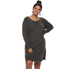 Juniors' Plus Size IZ Byer Lace-Up Shoulder Sweaterdress
