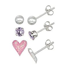 Charming Girl Kids' Sterling Silver Crystal, Heart & Ball Stud Earring Set - 3 Pair