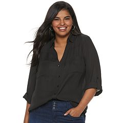 Juniors' Plus Size IZ Byer Roll-Tab Shirt