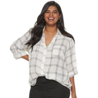 Juniors' Plus Size IZ Byer Roll-Tab Shirt