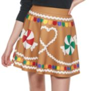 Juniors' Gingerbread Christmas Skater Skirt