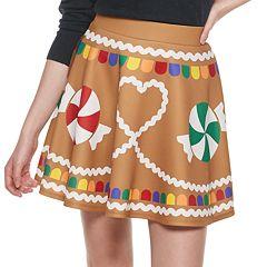 Juniors' Gingerbread Christmas Skater Skirt