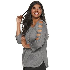 Juniors' Plus Size IZ Byer Cutout Ladder Sleeve Crewneck Top