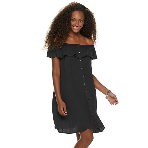 Juniors' Mudd® Ruffled Off-the-Shoulder Dress
