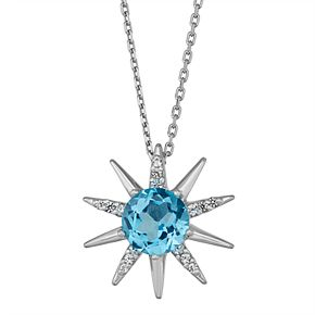 Sterling Silver Swiss Blue Topaz & Lab-Created White Sapphire Starburst Necklace