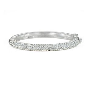 Charming Girl Kids' Silver Plated Crystal Hinged Bangle Bracelet