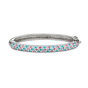 Charming Girl Kids' Silver Plated Pastel Crystal Hinged Bangle Bracelet