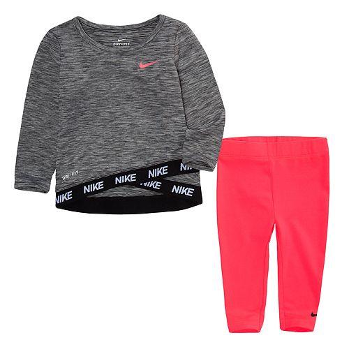 Baby Girl Nike Dri-FIT Space-Dye Crossover Top & Leggings Set