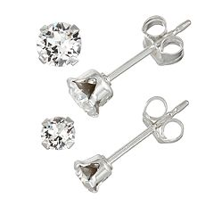 Charming Girl Kids' Sterling Silver Crystal Stud Earring Set - 2 Pair