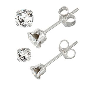 Charming Girl Kids' Sterling Silver Crystal Stud Earring Set - 2 Pair