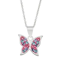 Charming Girl Kids' Sterling Silver Pastel Crystal Butterfly Pendant Necklace