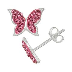 Charming Girl Kids' Sterling Silver Pink Crystal Butterfly Stud Earrings