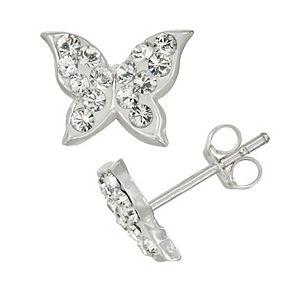 Charming Girl Kids' Sterling Silver Crystal Butterfly Stud Earrings