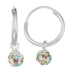 Charming Girl Kids' Sterling Silver Pastel Crystal Fireball Hoop Earrings