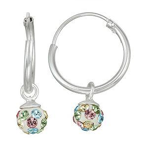 Charming Girl Kids' Sterling Silver Pastel Crystal Fireball Hoop Earrings