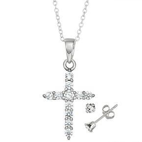 Charming Girl Kids' Sterling Silver Cubic Zirconia Cross Pendant & Stud Earring Set