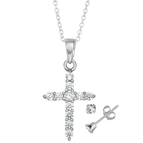 8673a1042 Charming Girl Kids' Sterling Silver Cubic Zirconia Cross Pendant ...
