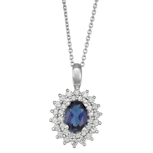 Sterling Silver Lab-Created Blue & White Sapphire Starburst Pendant Necklace