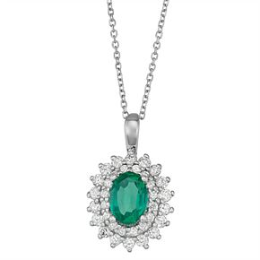 Sterling Silver Lab-Created Emerald & Lab-Created White Sapphire Starburst Pendant Necklace