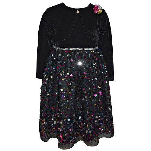 Baby Girl Blueberi Boulevard Sequin Velvet Dress & Shrug Set