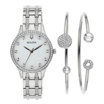 Bulova Women S Crystal Watch Amp Pendant Set 96x145