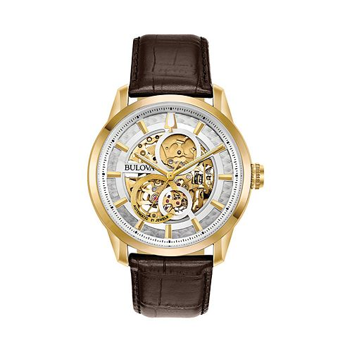 7f2839385 Bulova Men's Leather Automatic Skeleton Watch - 97A138