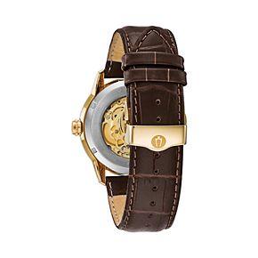 Bulova Men's Leather Automatic Skeleton Watch - 97A138