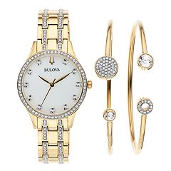 Bulova Women's Crystal Watch & Bracelet Set - 98X119