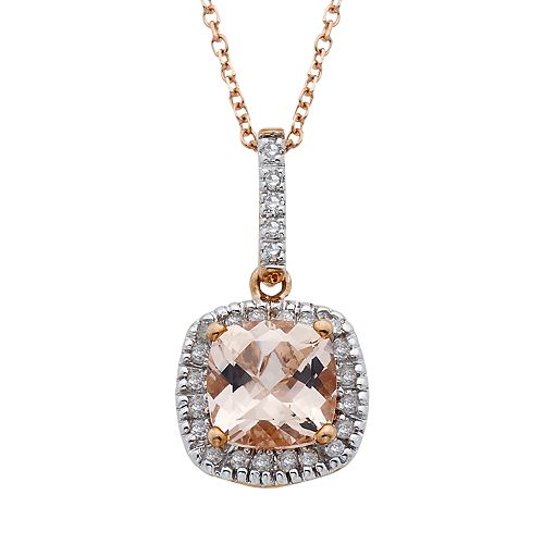 10k Rose Gold Morganite & 1/10 Carat T.W. Diamond Cushion Drop Pendant Necklace