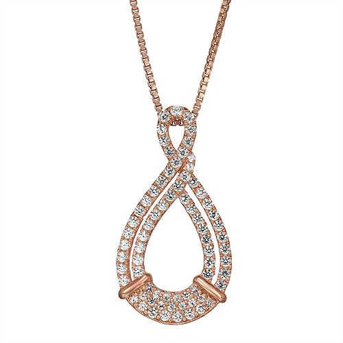 14k Rose Gold Over Silver 1/3 Carat T.W. Diamond Infinity Pendant