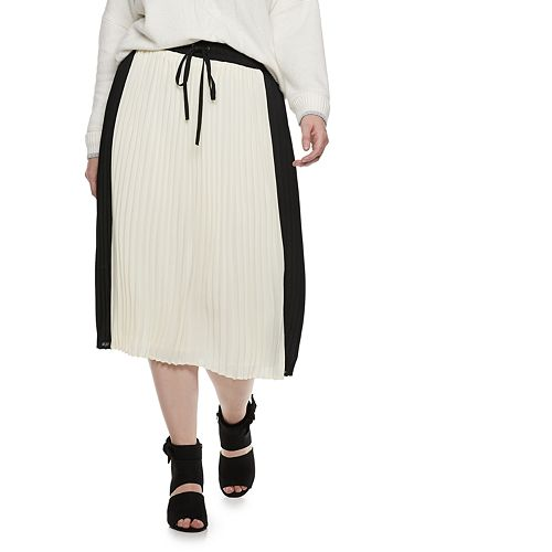 Plus Size POPSUGAR Colorblock Pleated Midi Skirt