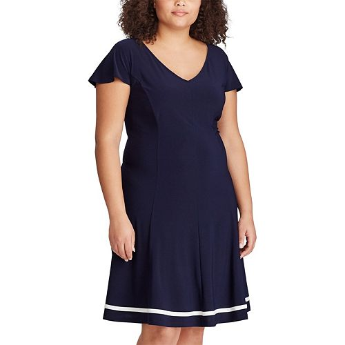 Plus Size Chaps Colorblock Fit & Flare Dress