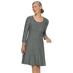 Women's Dana Buchman Ribbed Fit & Flare Sweater Dress