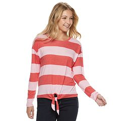 28bfb538bb679d Long Sleeve Top. Juniors' Cloud Chaser Striped Tie Front Tee
