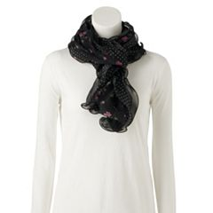 Chaps Ruffled Pin Dot Oblong Scarf