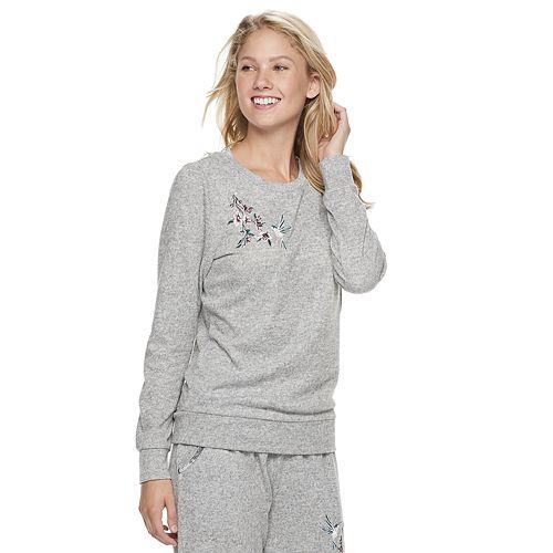 Women's Gloria Vanderbilt Embroidered Crewneck Pajama Tee
